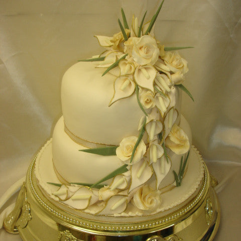 2 Tier Roses & Calla Lillys  Wedding Cake