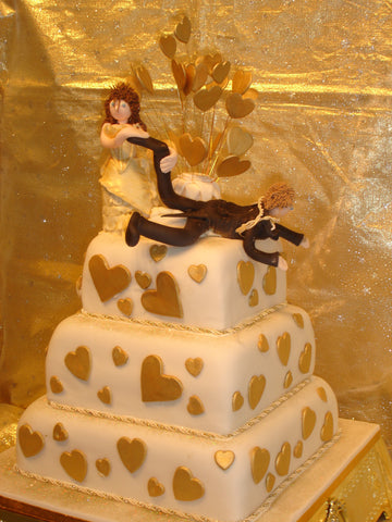 3 Tier  Bride & Groom Hanging Off Wedding Cake