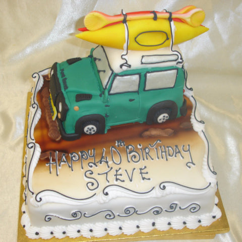 Jeep & Surfboard  Birthday Cake