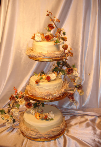 3 Tier Wild Flowers Wedding Cake