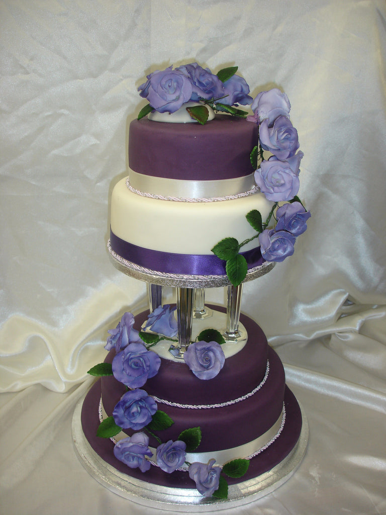 3 tier wedding cake with cascading roses 4 tier purple cascading roses wedding cake celticcakes 10341