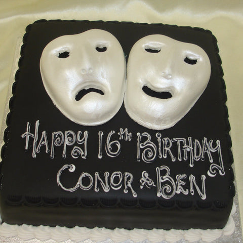 Theatre Masks Birthday Cake - UK DELIVERY