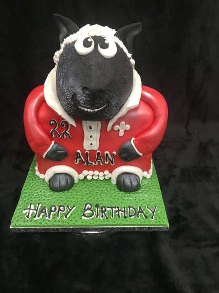 Sheep Rugby Player Birthday Cake