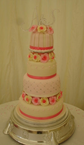 4 Tier Roses & Quilt Wedding Cake