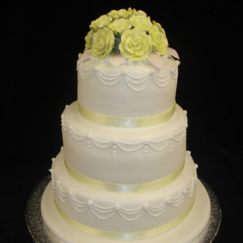 3 Tier  Posy Of Roses Wedding Cake
