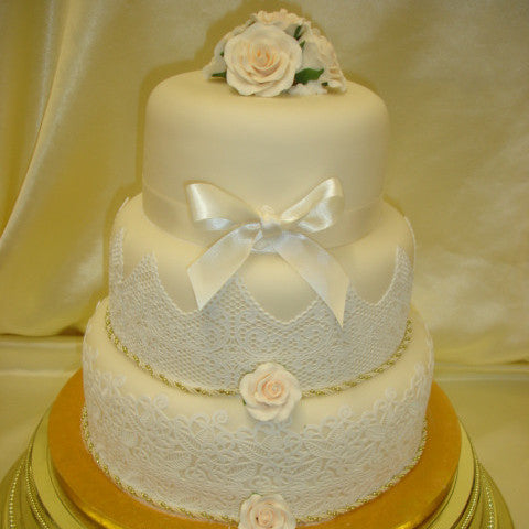 3 Tier  Lace #2 Wedding Cake