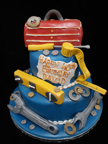 2 Tier DIY Tools Birthday Cake