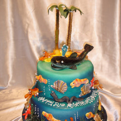 Two Tier Whale Childrens Cake