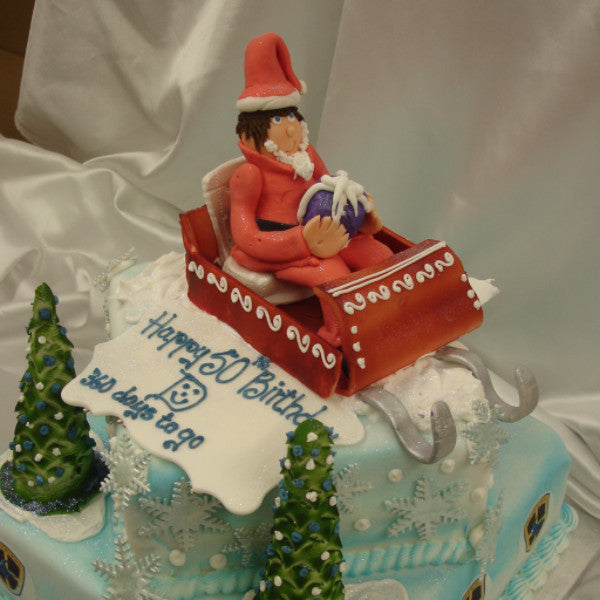 2 Tier Father Christmas On Sleigh Cake