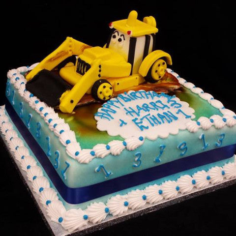 Yellow Tractor Childrens Birthday Cake