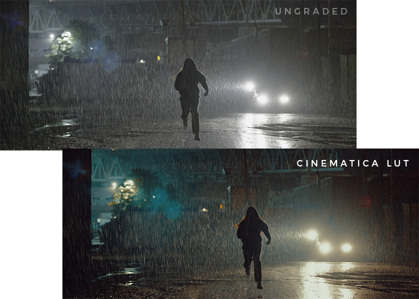 With and Without Cinematica Grading LUT