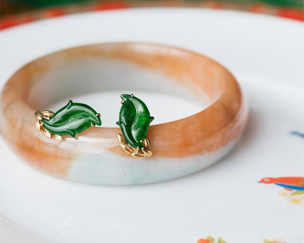 Jade Leaf Earrings and Bangle | Natural Jadeite Jewelry Designs | TRACE