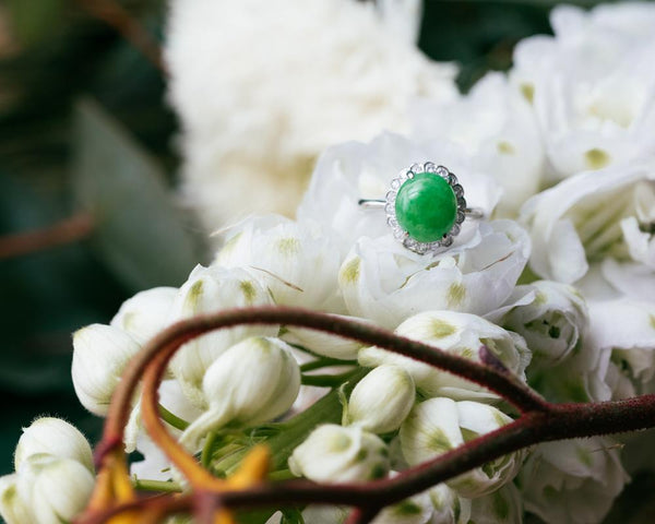 Daisy Flower Jade Ring Design | Cabochon Natural Jadeite