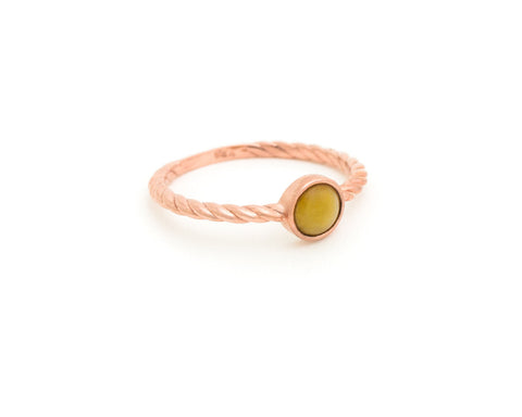 Yellow jade stacking rings - 10k rose gold - designed by TRACE modern jade jewelry