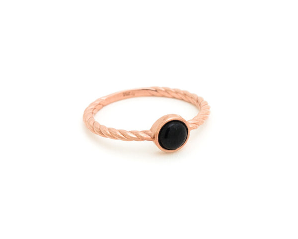 Black jade ring - Twisted rope ring in rose gold - modern jade jewelry by TRACE