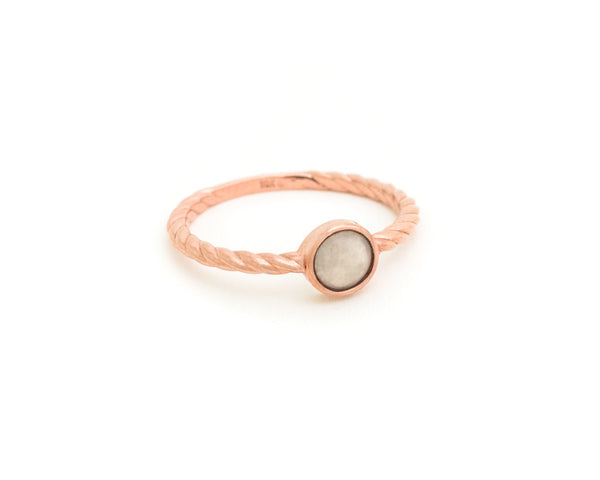 White jade ring in rose gold - TRACE jade jewelry