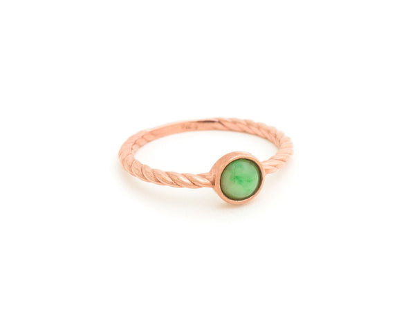 Green jade ring - TRACE modern jade - rose gold with mint green jade