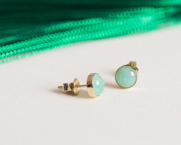 Green Jade Earrings | Round Carved Jade Earrings by TRACE