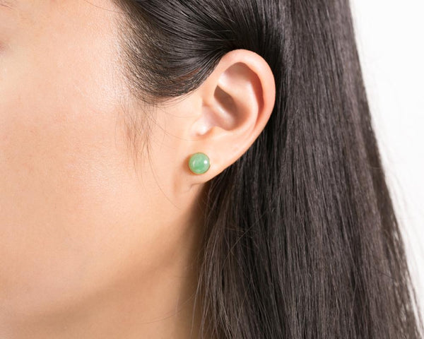 Green Jade Stud Earrings in 14k Gold | Modern Jade Jewelry by TRACE