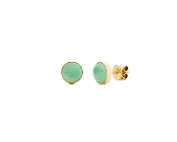 Jade Stud Earrings | Round Green Jade Gold Earrings | TRACE