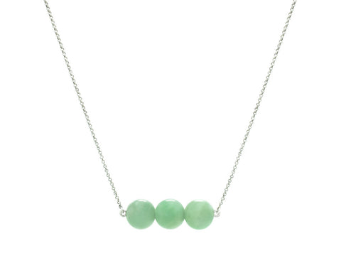 Bar Necklace with Green Jade in White Gold | Modern Jade Designs by TRACE