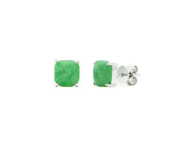 Green Jade Stud Earrings in White Gold | Modern Jade Designs by TRACE