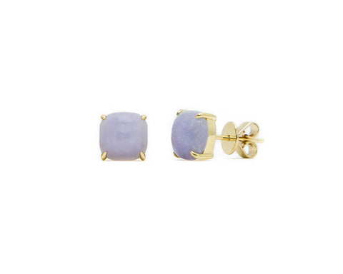 Light Purple Jade Stud Earrings in Yellow Gold | Modern Jade Designs by TRACE