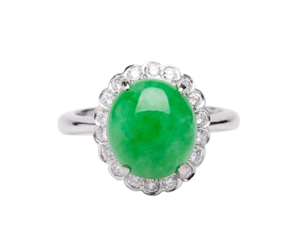 Green Cabochon Jade Ring with Diamonds | Natural Burmese Jadeite Jewelry by TRACE