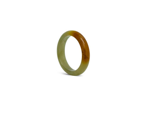 Mossy Green and Walnut Brown Jade Ring | Modern jade designs at TRACE