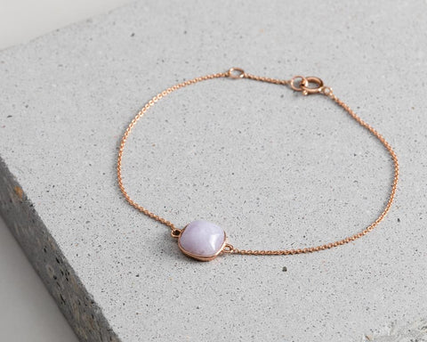 Lavender Jade Bracelet in Rose Gold | Modern Jade Designs by TRACE