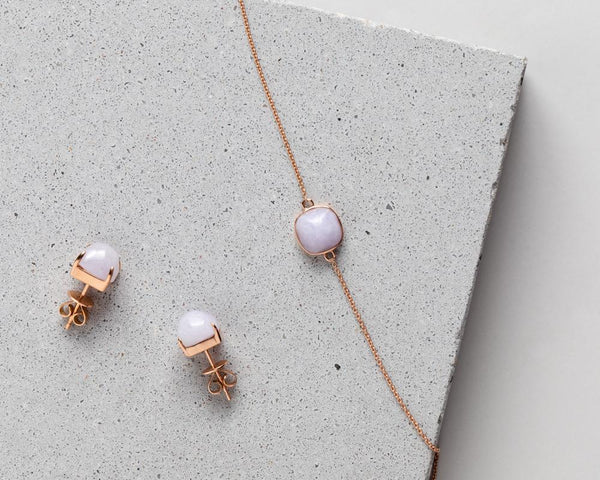 Lavender Jade Jewelry in Rose Gold | Modern Jade Stud Earrings & Bracelet by TRACE
