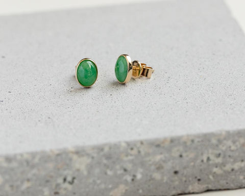 Green Jade Cabochon Stud Earrings in Yellow Gold | Modern Jade Designs by TRACE