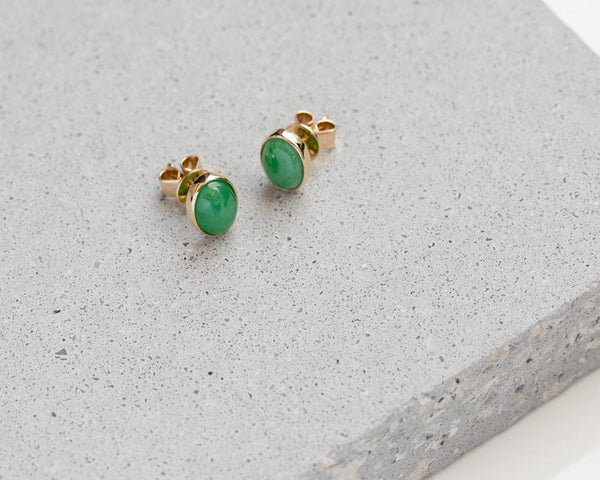 Yellow Gold Green Oval Jade Studs | Modern Jade Designs by TRACE