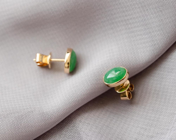Green Jade Stud Earrings | Modern Jade Jewellery Hong Kong | TRACE