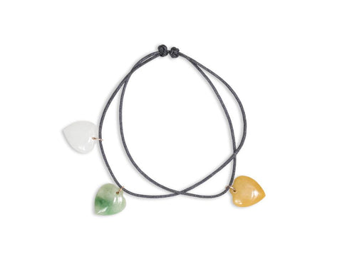 Jade Heart Charms | Cord Bracelet with Adjustable Knot | tracejade.com