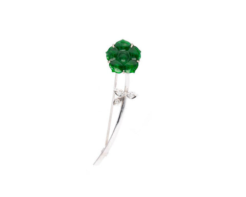 18k Carved Jade Flower Pin with Diamonds | Natural jadeite jewelry by TRACE