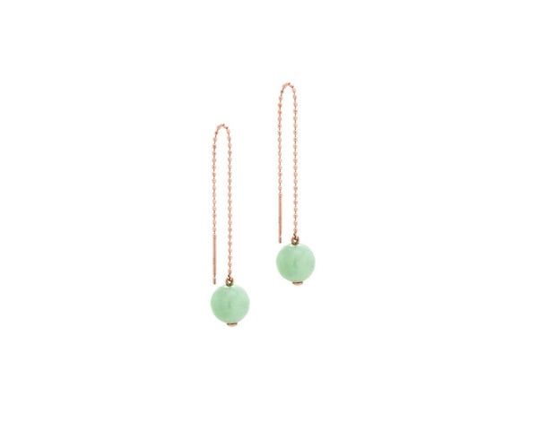 Threader Earrings with Jade Bead | 10 karat rose gold dangling earrings