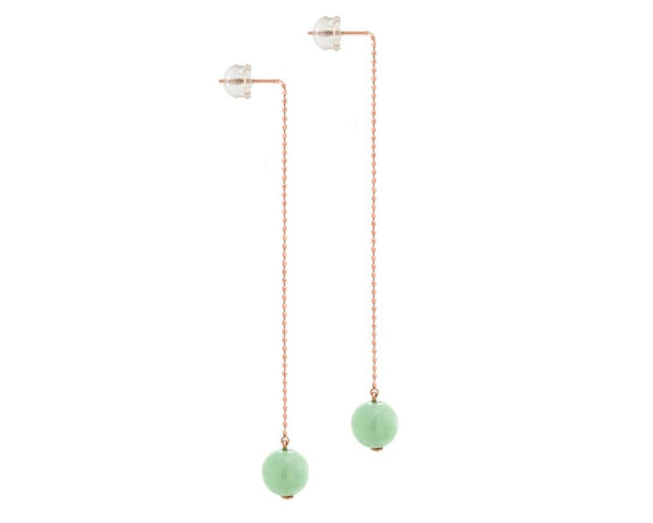 Threader Earrings Rose Gold with Green Jade Bead, 10k rose gold