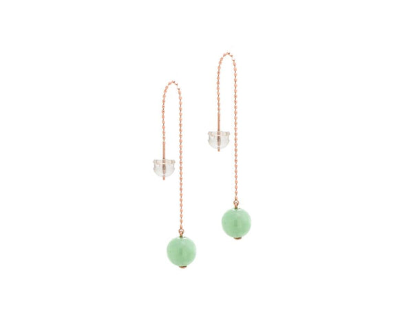 Jade Bead Threader Earrings in Rose Gold and Clear Earring Backing