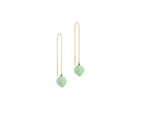 Threader Earrings with Jade Bead | 10 karat yellow gold dangling earrings