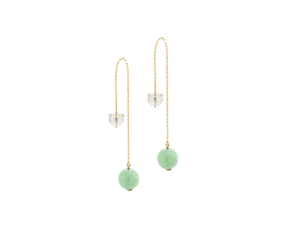 Modern Jade Earrings in Dangling Threader Style