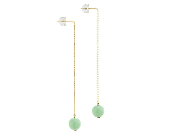 Yellow Gold Threader Earrings with Natural Jade