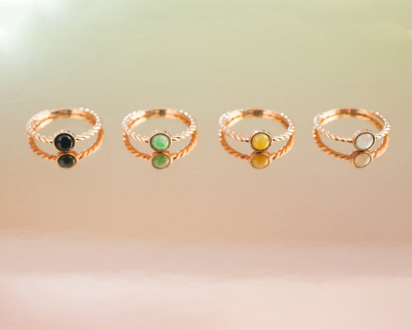 Many colors of jade - Jade rings in rose gold - TRACE jewelry designs