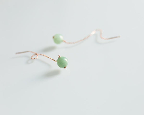 Natural Grade A Jadeite Earrings in Modern Design