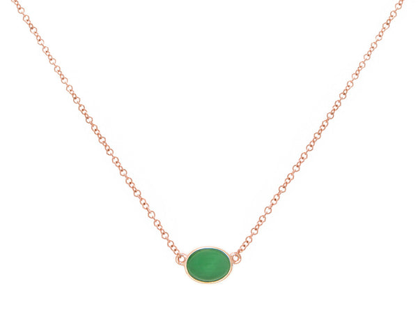 Rose Gold Green Jade Pendant Necklace | Oval Cut