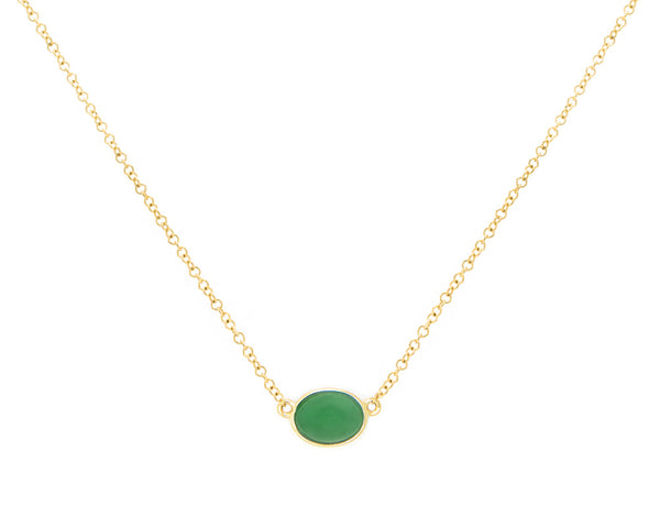 Green Jade Necklace in Yellow Gold | Modern Jade Designs by TRACE