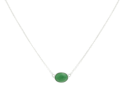Green Jade Necklace in White Gold | Modern Jade Designs by TRACE