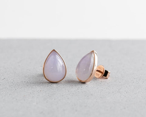 Rose Gold Lavender Pear Jade Studs | Grade A Jadeite Earrings | Jade jewelry by TRACE