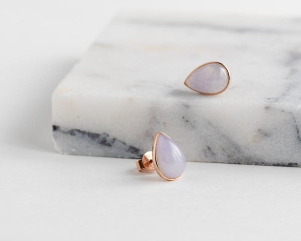 Lavender pear shaped jadeite stud earrings | Solid jade earrings at TRACE