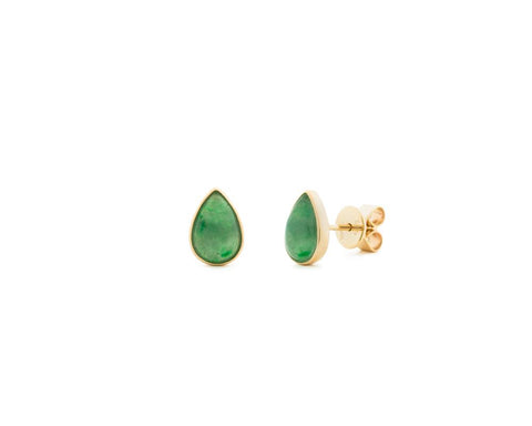 Tear Drop Dark Green Jade Stud Earrings